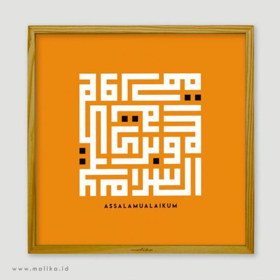 hiasan dinding kaligrafi paper printing assalammu'alaikum berwarna orange white